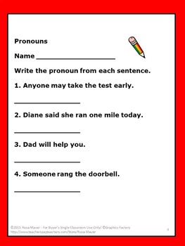 Pronouns Review Task Cards