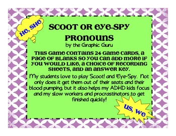 Pronouns Scoot or Eye-Spy