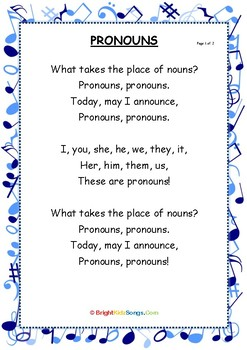 Pronouns Song Lyrics By Brightkidzsongs Teachers Pay Teachers