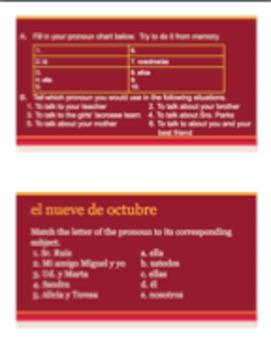 Pronoun Spanish Notes, Warm-ups, & Quiz Pronouns Pronombres