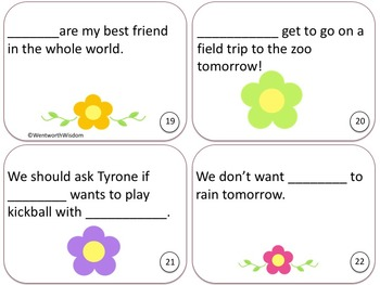 Singular and Plural Pronouns Task Cards for Literacy Center Games & Activities