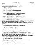 Pronouns Unit Test or Assessment