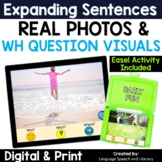 No Print Speech Therapy Summer Expanding Sentences with Real Photos