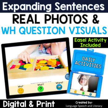 No Print Expanding Sentences Using Visual Cues & WH Questions| Real Photos 2