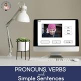 No Print Pronouns, Verbs, Simple Sentences (BOOM CARD)