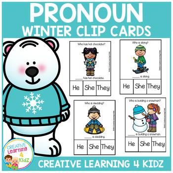 Pronoun Clip Cards: Winter