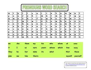 Pronouns Word Search