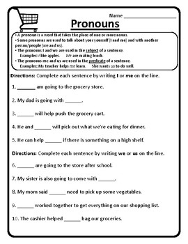 pronouns worksheet pronouns practice pronouns i me us and we