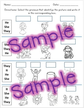 Pronouns Worksheet Test