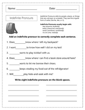 Indefinite Pronouns Worksheets