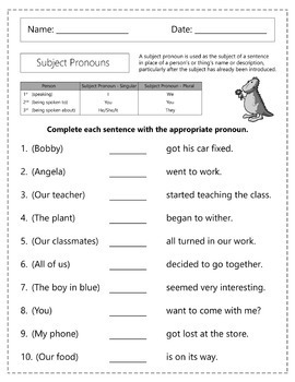 Subject Pronouns Worksheets