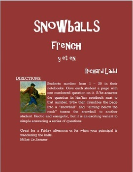 Pronouns Y and EN Snowballs FRENCH