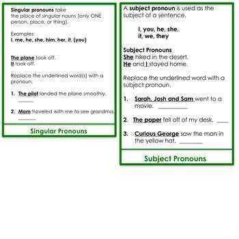 Pronouns:  a flip book