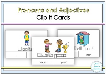 Pronouns and Adjectives Clip It Cards- Special Education