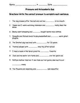 Pronouns and Antecedents Quiz