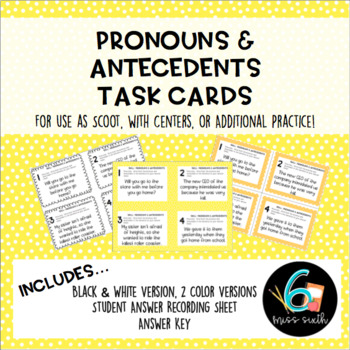Pronouns and Antecedents Task Cards