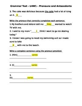 Pronouns and Antecedents Worksheet/Quiz/HW