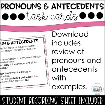 Pronouns and Antecedent Task Cards