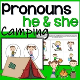 Pronouns for speech therapy: he and she camping