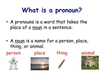 Pronouns he, she, we, they, it
