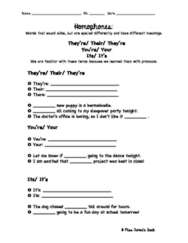 Pronouns in Homophones Worksheet