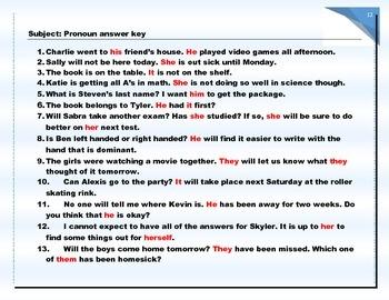 Pronouns with QR code self-check (Common Core friendly) with Bonus