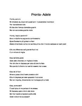 Pronto (Hello) Adele Valentine's day advanced il congiuntivo subjunctive italian