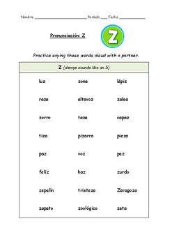 Spanish Pronunciation: Letter Z - Rules & Practice Sheet