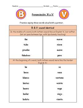 Spanish Pronunciation: B & V - Rules & Practice Sheets