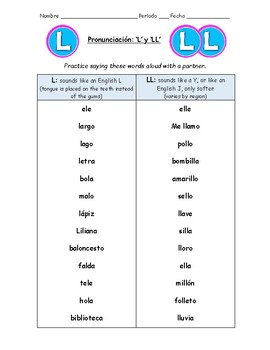 Spanish Pronunciation: Letters L & LL - Rules & Practice Sheets