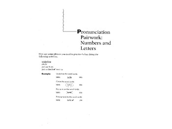 Pronunciation Practice:  Numbers and Letters