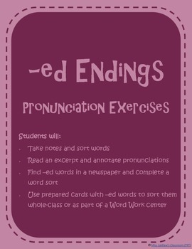 Pronunciation of -ed Endings - /t/, /d/, and /id/ {ESL Act