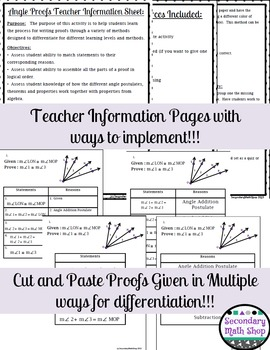 Proof - Logic - Angle Add/Relat. Proofs Cut & Paste Group Activity + MORE!!!