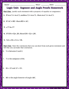 Proof Logic - Unit 2: Proof/Logic #5: Segment and Angle Proofs Note/Assig