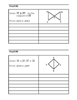 Geometry Proof Practice:  SAS, SSS, ASA, AAS, and HL