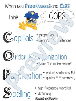 Proofread and Edit Anchor Chart