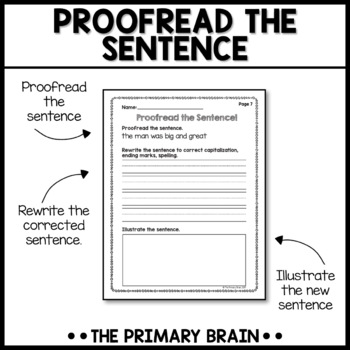 Proofread the Sentence Writing Intervention Activity