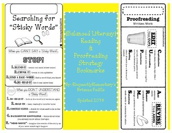 Balanced Literacy: Reading & Proofreading Strategy Bookmarks