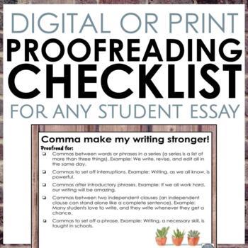 Proofreading Foldables for Writer's Workshop