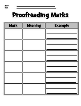 Proofreading Marks Chart Graphic Organizer