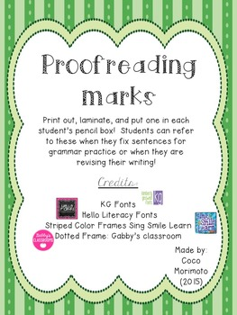Proofreading Marks for Individual Students