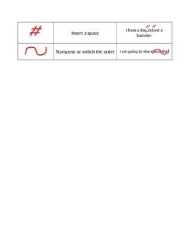 Proofreading Marks notes / worksheet