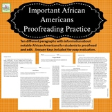 Proofreading Practice with Important African Americans
