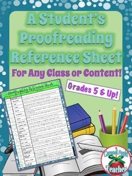 Proofreading Reference Sheet {Perfect for Student Notebooks!}