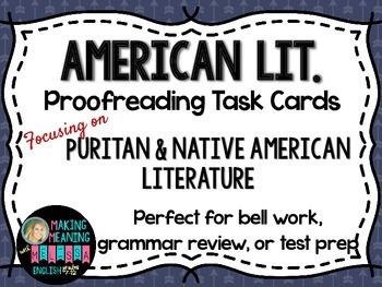 Proofreading Task Cards - American Lit Set 1, Puritan/Native American Lit