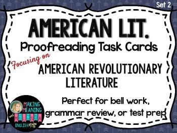 Proofreading Task Cards - American Lit Set 2, Revoltionary War Lit