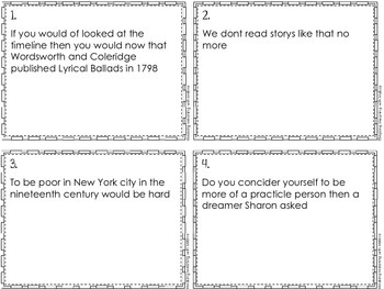 Proofreading Task Cards - American Lit Set 3, American Romantics Lit
