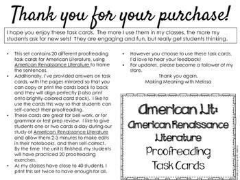 Proofreading Task Cards - American Lit Set 4, American Renaissance Lit