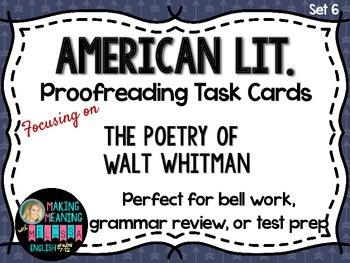 Proofreading Task Cards - American Lit Set 6, Poetry of Walt Whitman
