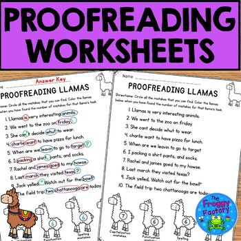 Proofreading Practice Worksheets - NO PREP
